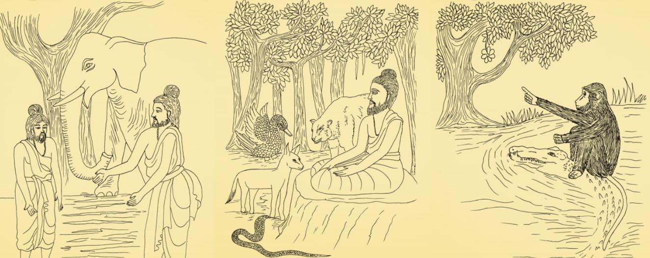 Jataka Tales illustrations triptych