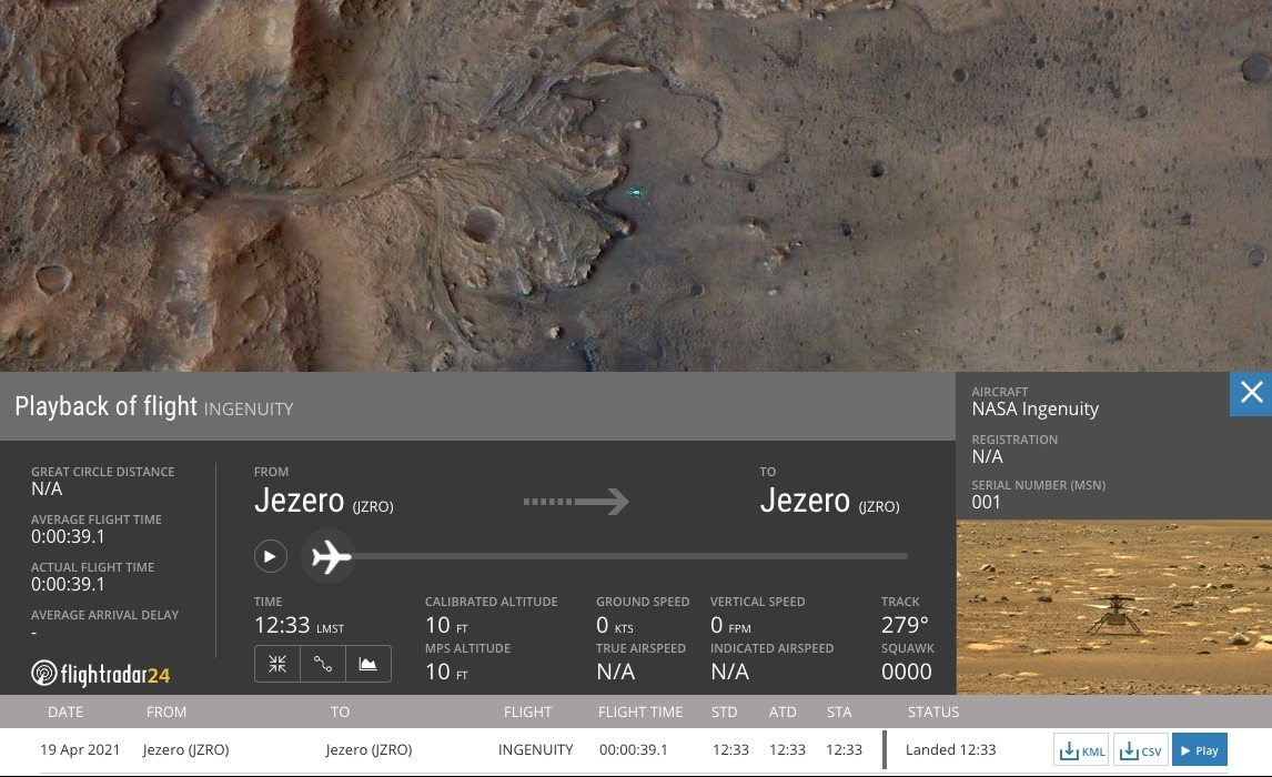 A mock image showing data from Ingenuity's first flight on Mars
