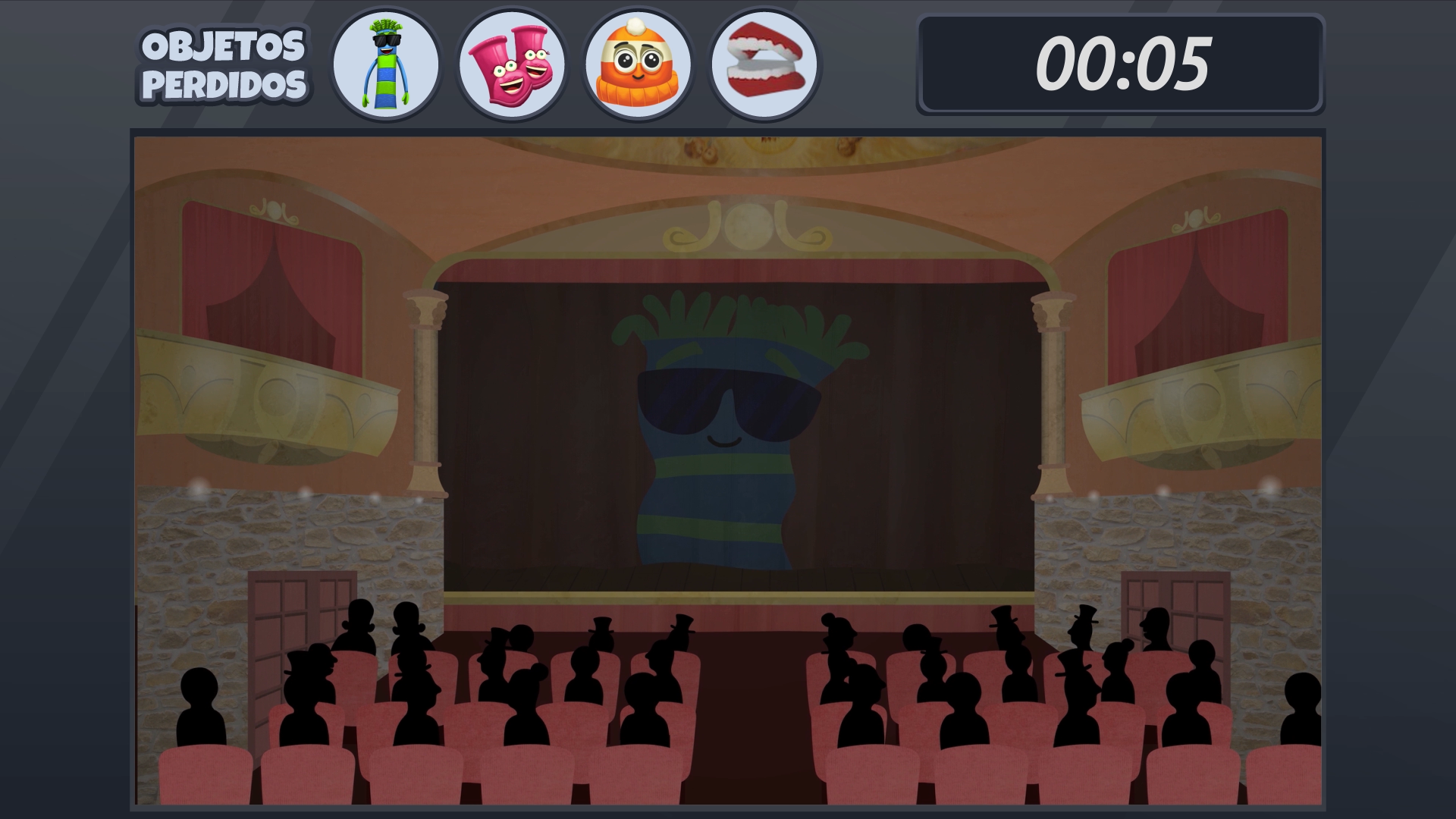 Screenshot of the theater with lost objects above