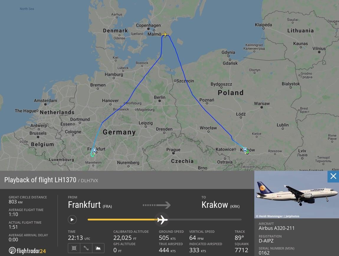 LH1370 Flight path