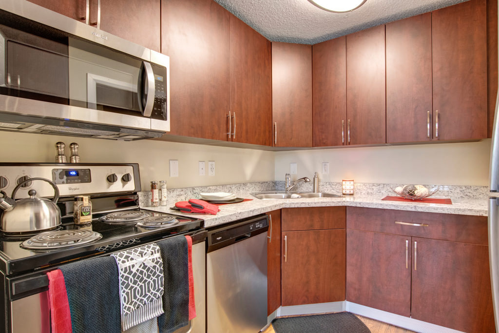 newly renovated kitchen with stainless steel appliances, new cabinets and counters