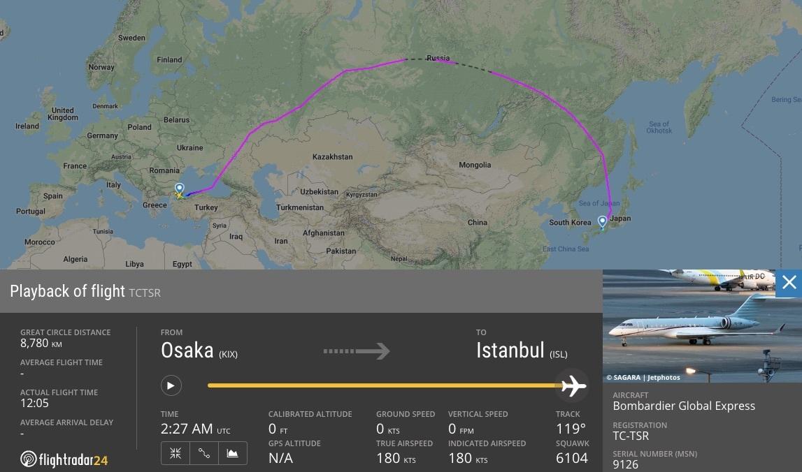 Flight path of TC-TSR from Osaka to Istanbul