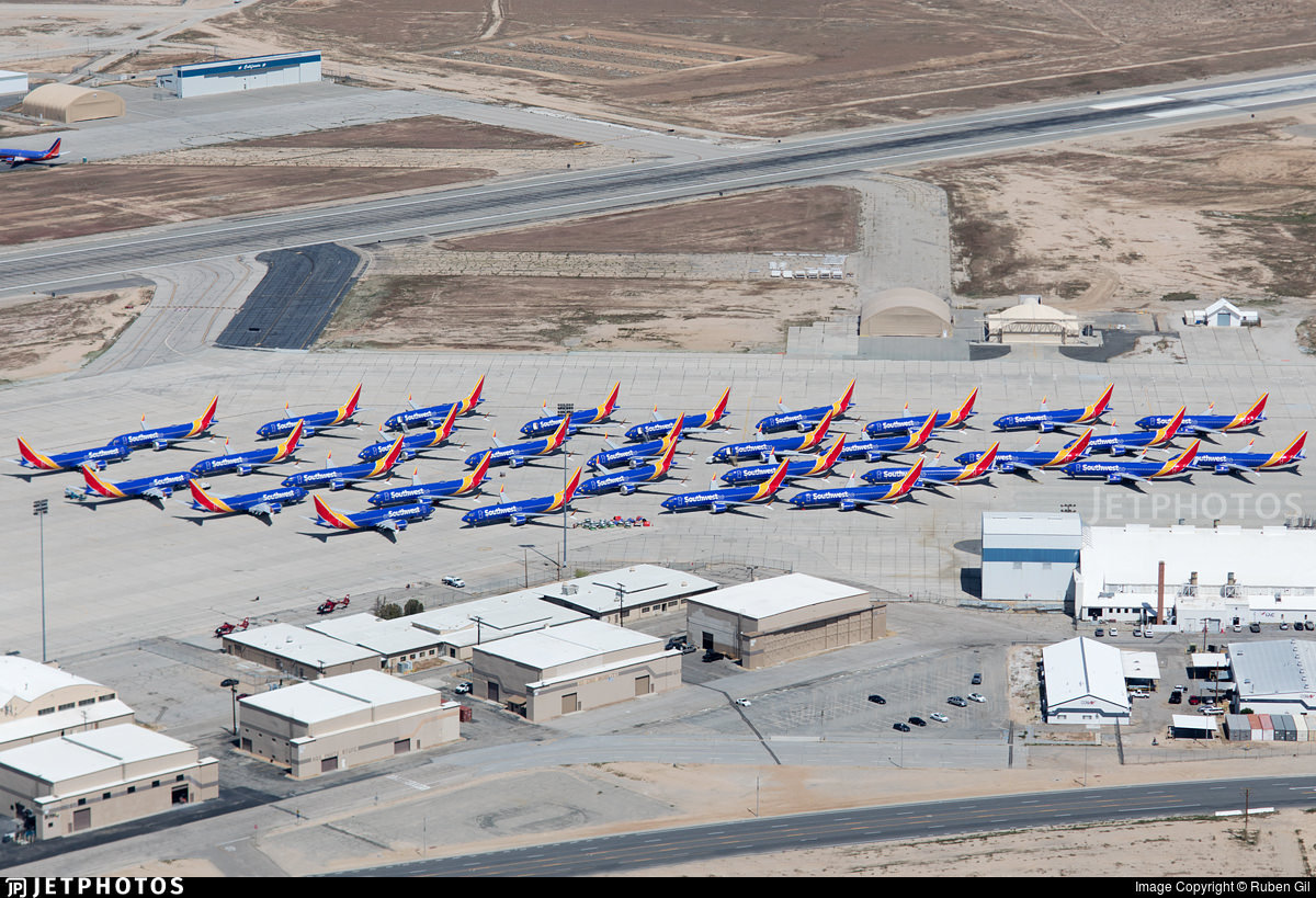 Southwest 737 MAX 8s parked in Victorville