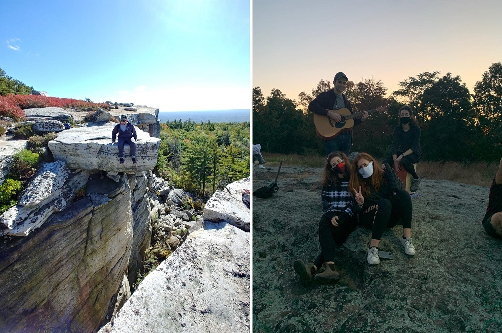 sitting on the edge of a cliff in New Paltz and group sitting on a rock