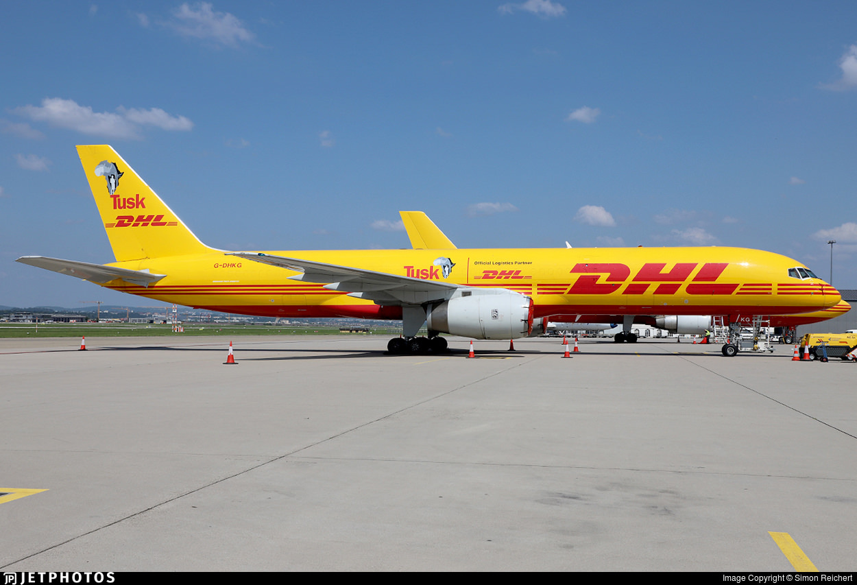 DHL 757 in special Tusk decals