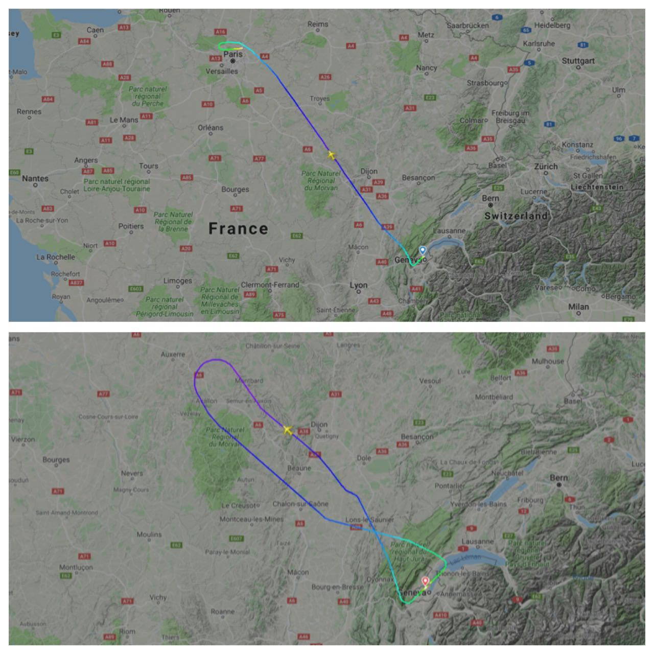 Swiss A220 engine failures fligh tracks