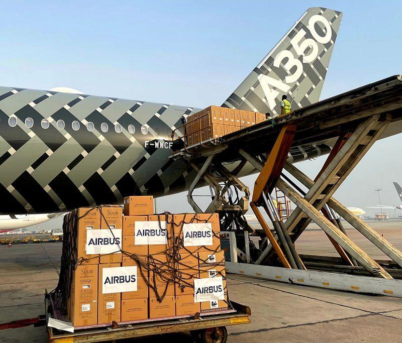 A350 delivering cargo in Delhi