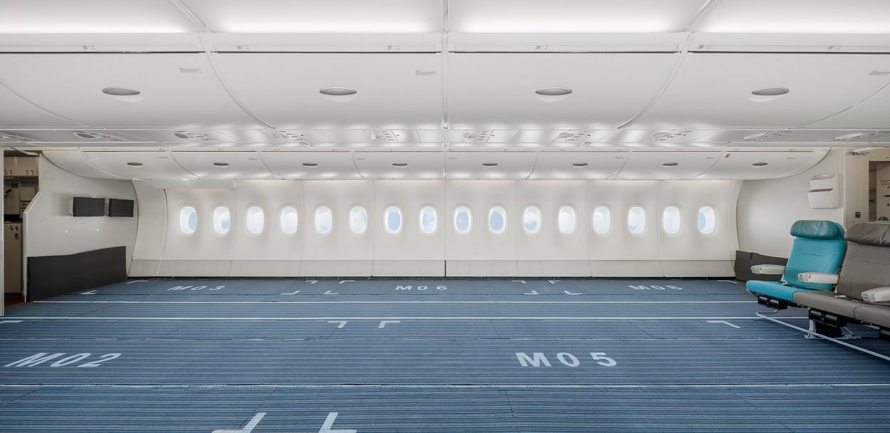 Interior of Hi Fly A380 with seats removed