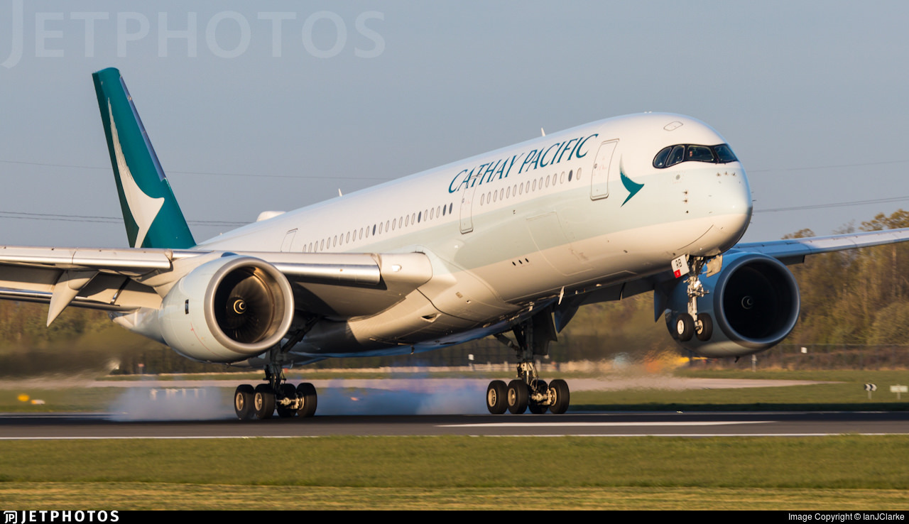 A Cathay Pacific A350 touching down in Manchester