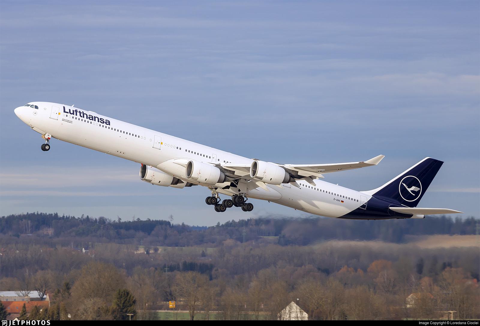 A Lufthansa A340-600 departing Munich