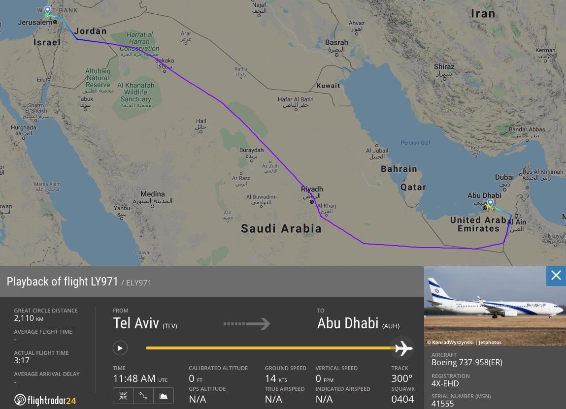 El Al Tel Aviv to Abu Dhabi flight