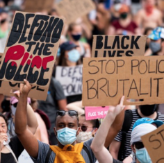 """an image of a protest for black lives matter with signs that say, """"defund the police"""" and """"stop police brutality"""""""