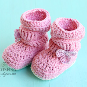 Crochet Slouchy Pink Girlie Booties