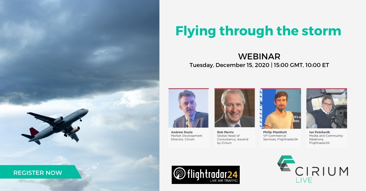 Cirium and Flightradar24 2020 recap webinar registration page