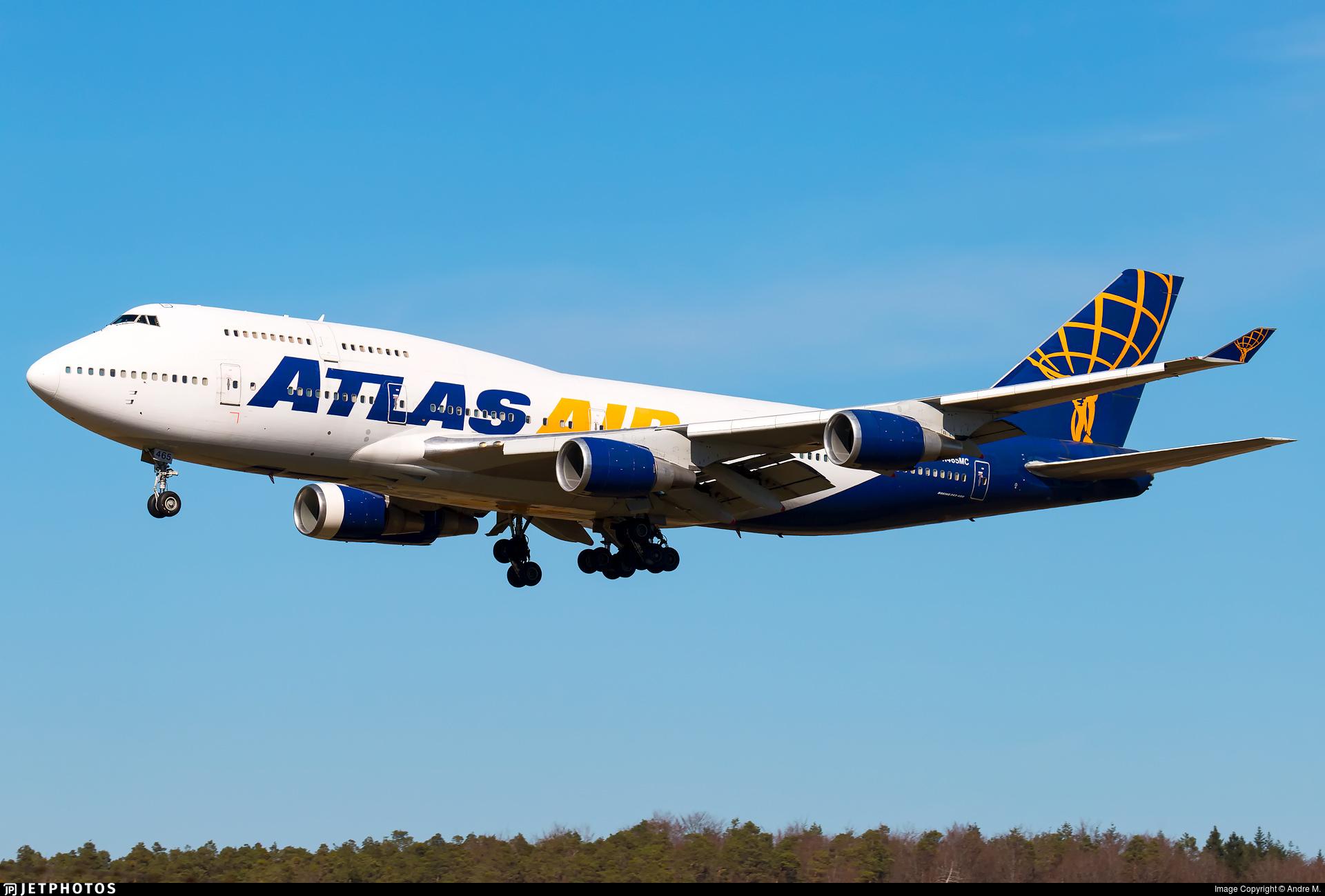 An Atlas Air 747 landing at Ramstein.