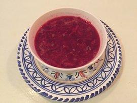 celery root and beet borscht