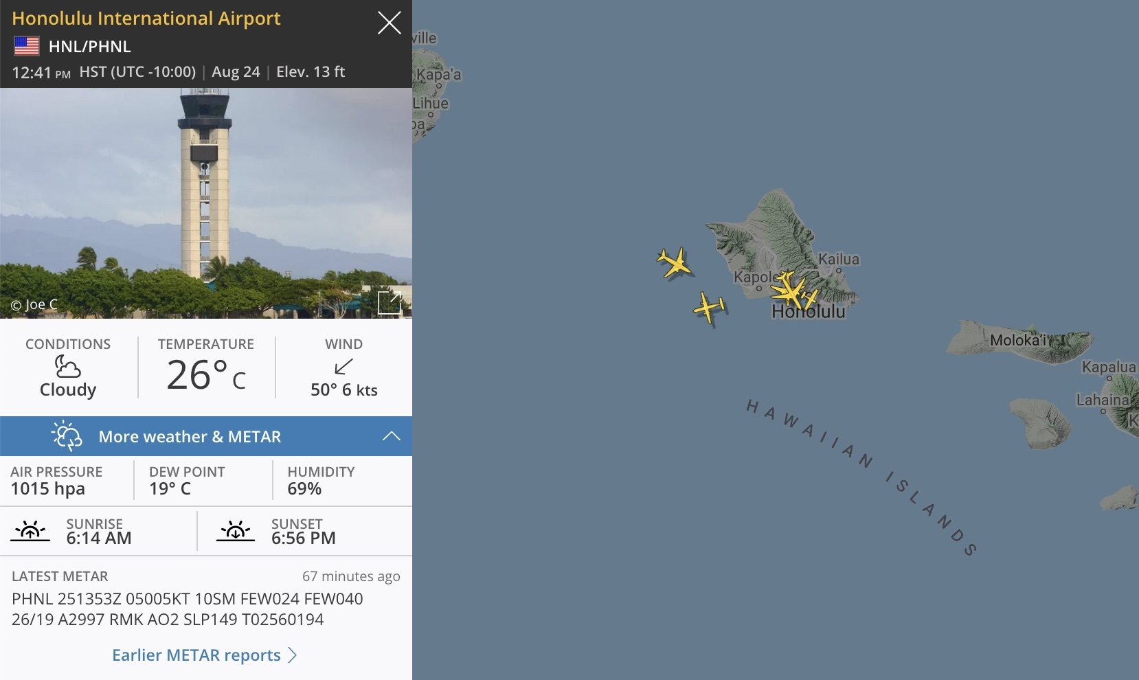 The METAR and Honolulu airport