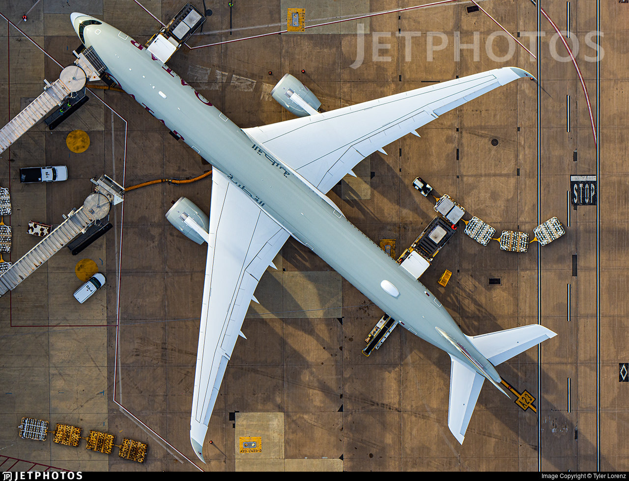 Looking down on a Qatar Airways A350 at the gate in Washington