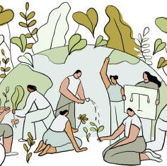 an illustration of various people planting, gardening, watering, and more