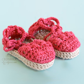 Espadrille Baby Crochet Shoes with Ankle Ties