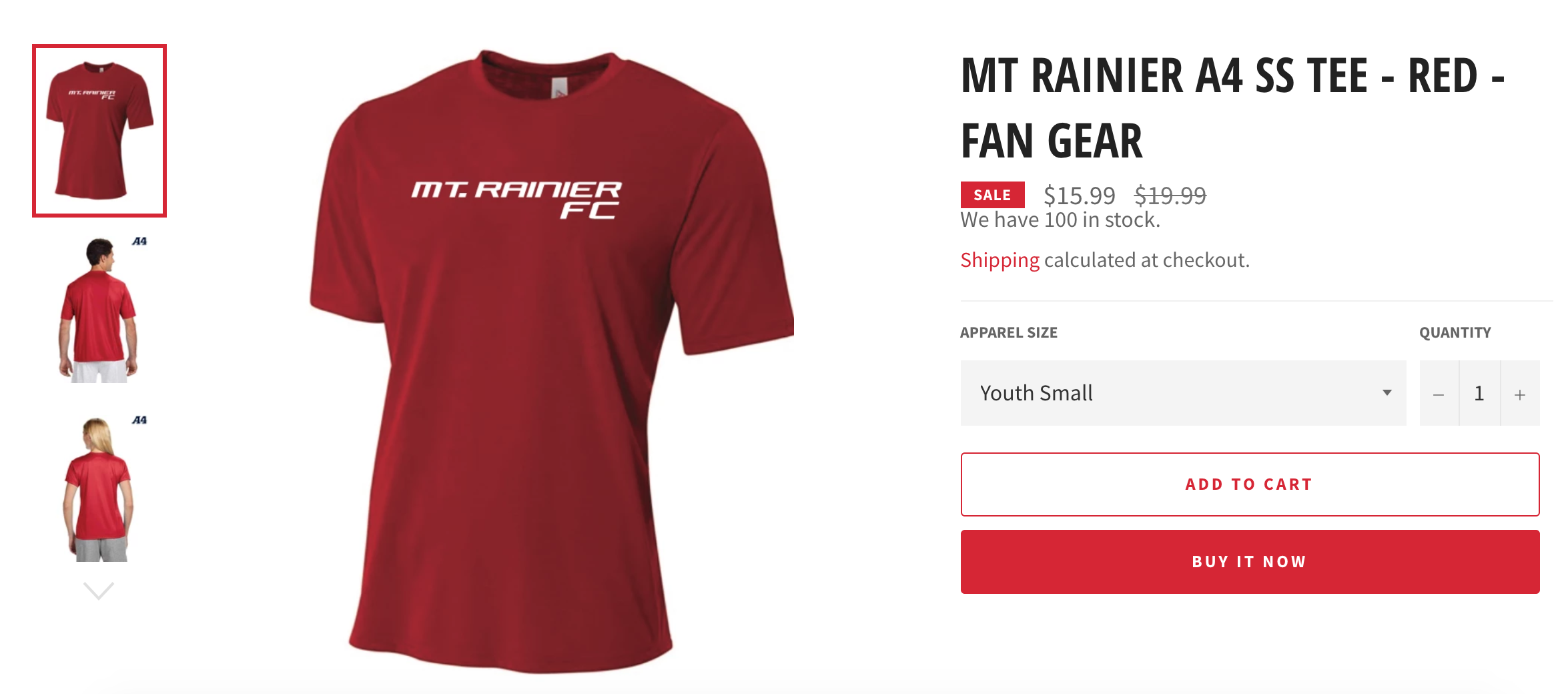 Mt Rainier FC - Fan Gear Jersey Clearance