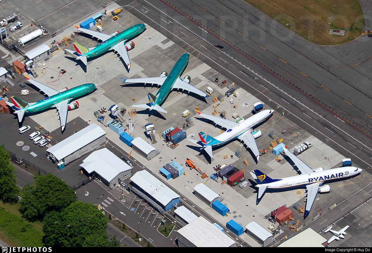 737 MAX in various states of production in Renton