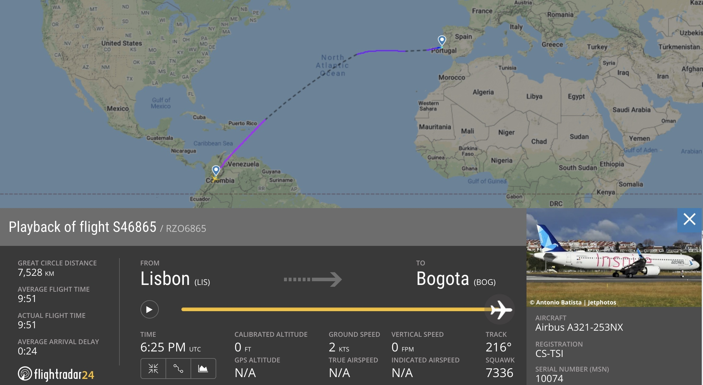 Azores Airlines A321LR flight from Lisbon to Bogota