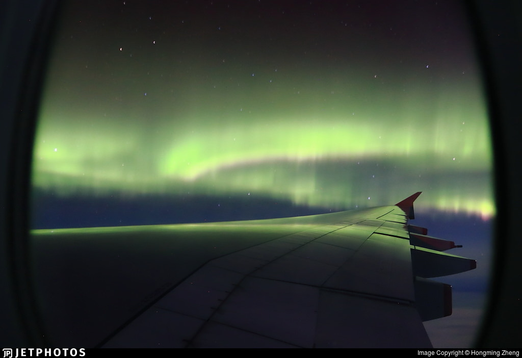 Northern Lights outside an A380 window