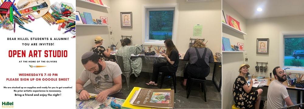 art studio flyer and students working in studio