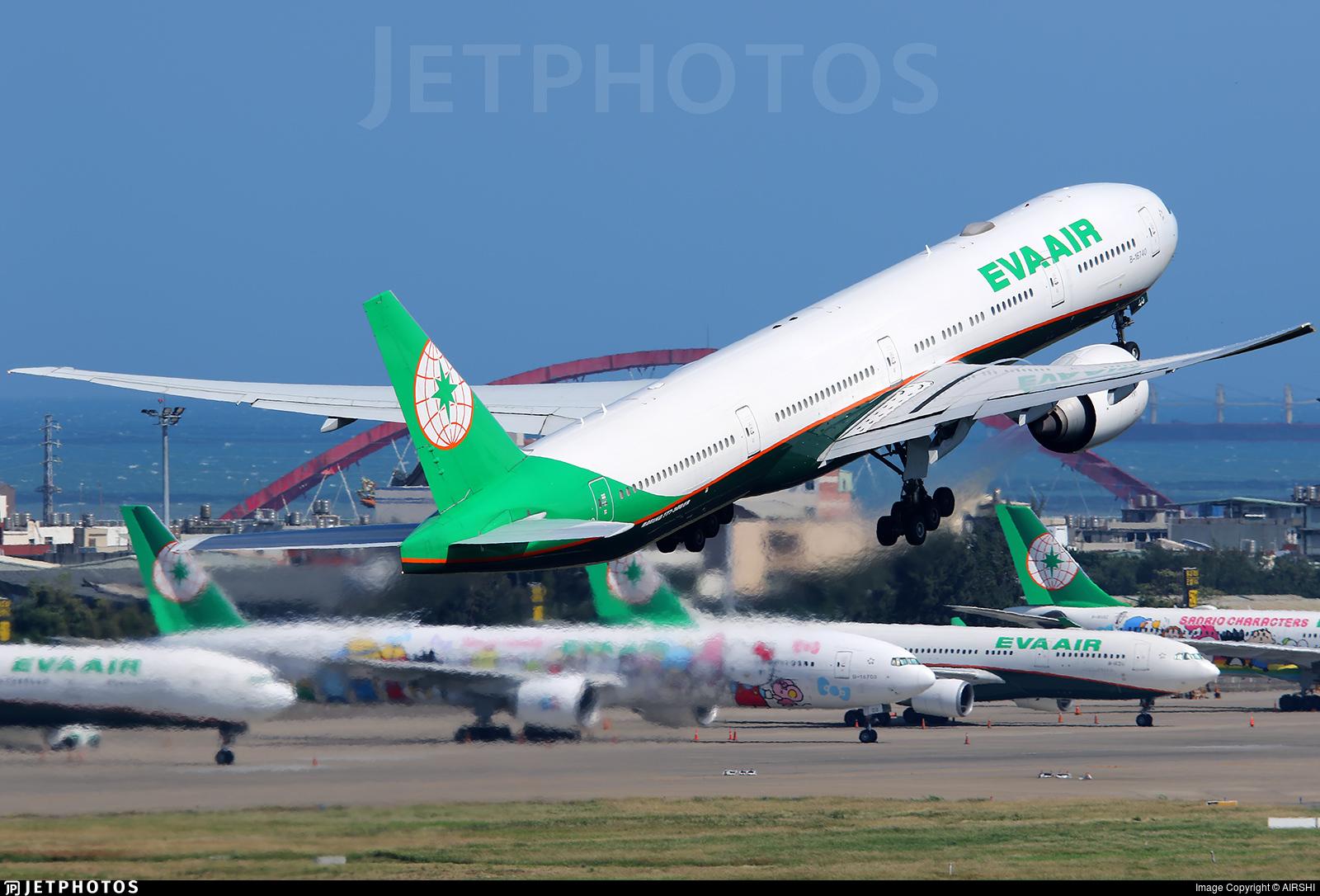 EVA Air 777 departing Taipei