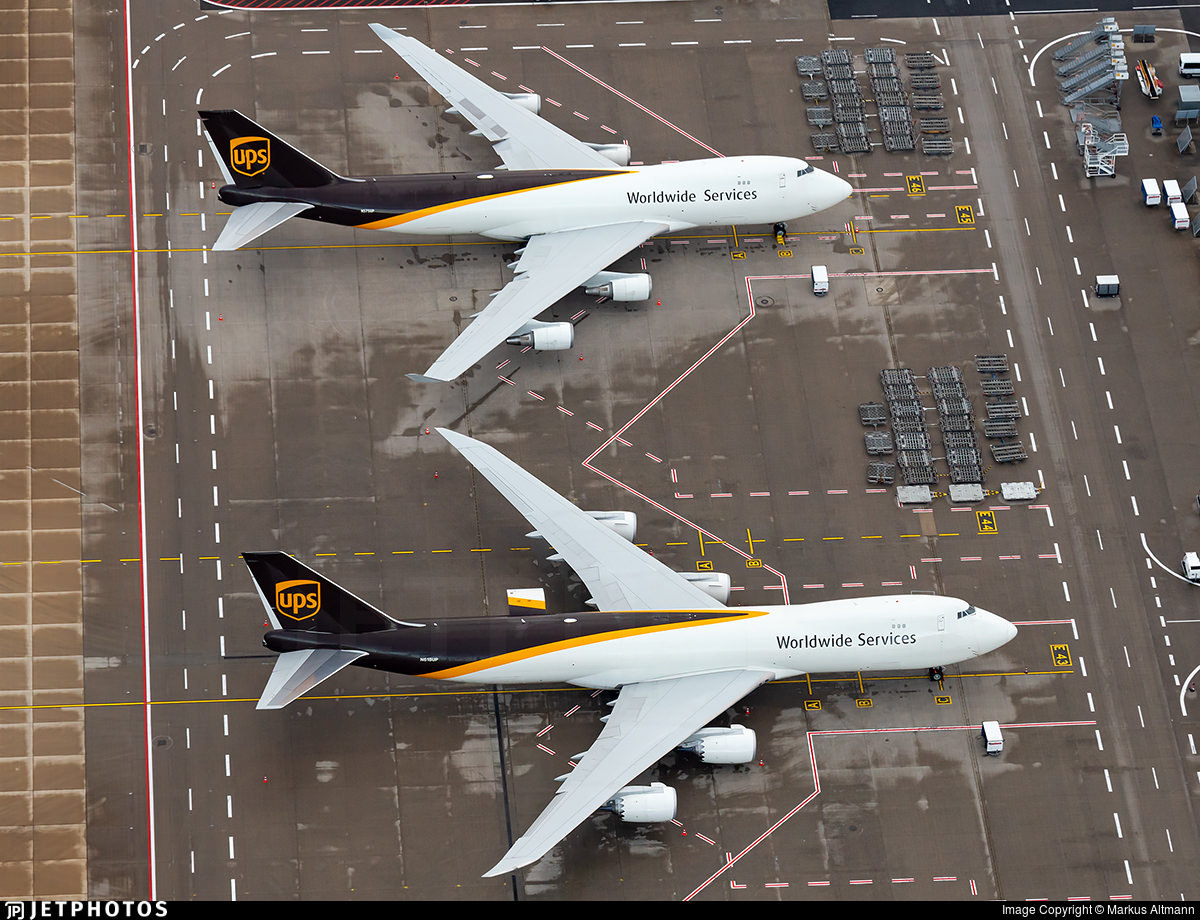 UPS Airlines 747-400 and 747-8 side by side in Cologne