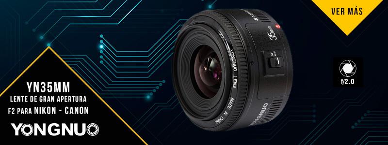 YN35MM Lente de gran apertura F2, para Nikon o Canon