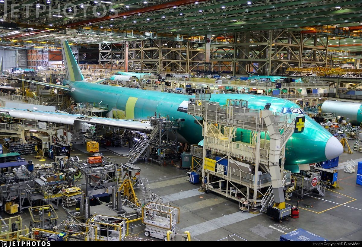 A UPS 747-8F in the Boeing factory