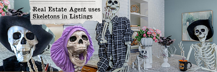 Real Estate Agent Poses 12-foot Tall Skeleton Families in her Listing Pics