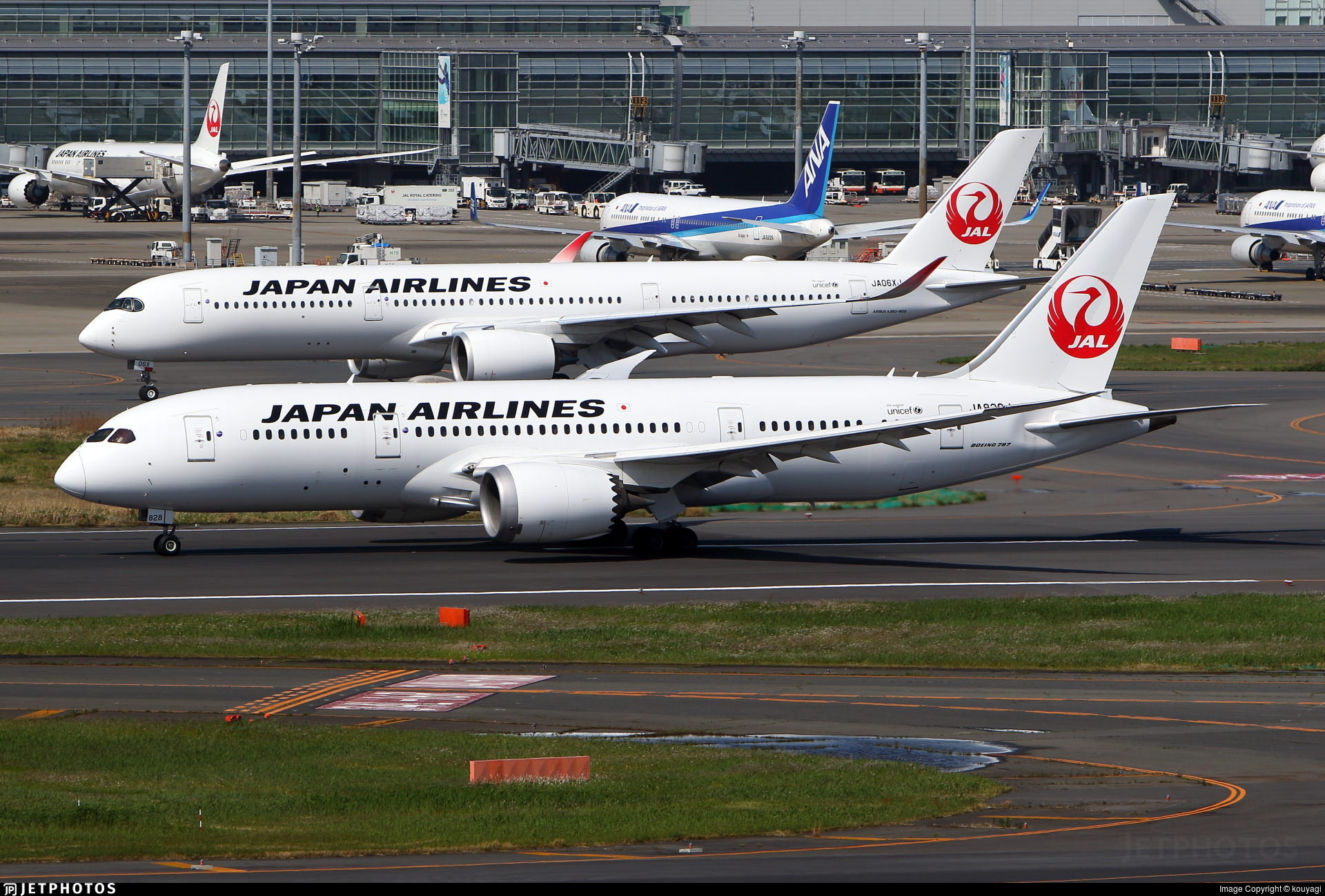 A Japan Airlines 787 and A350 in Tokyo