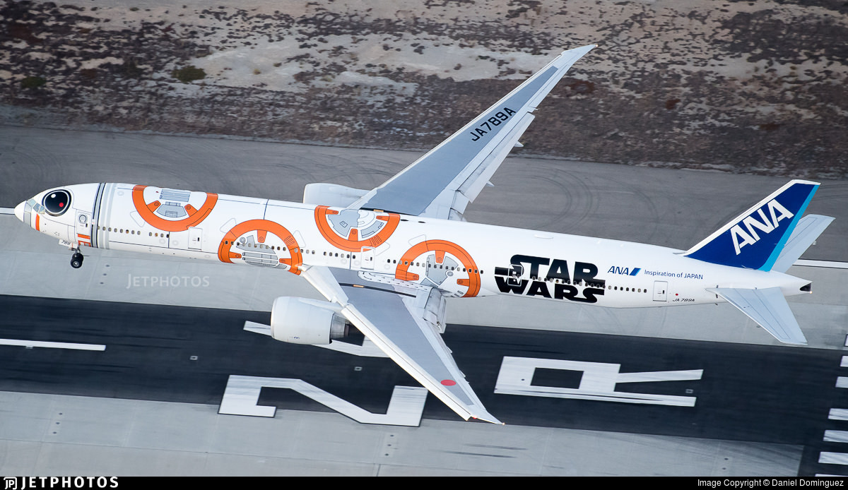 ANA's BB-8 777 landing in Los Angeles