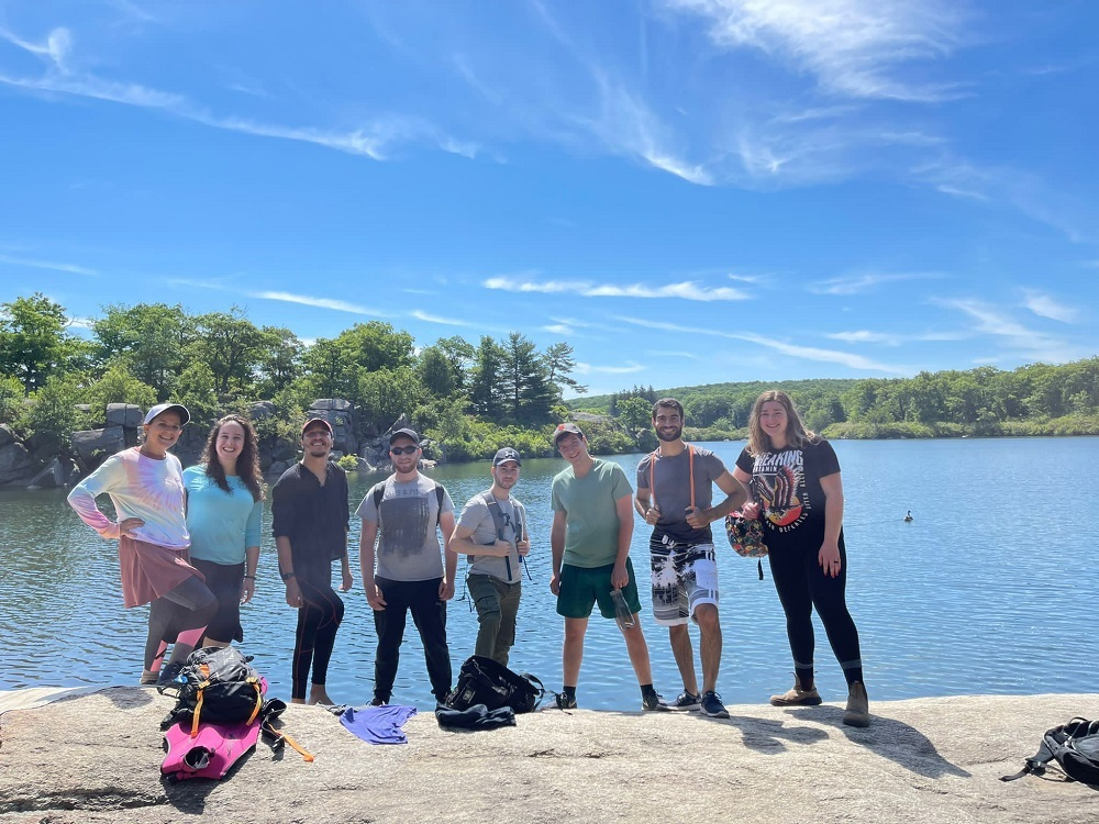 Hillel Hikers standing in front of a lake