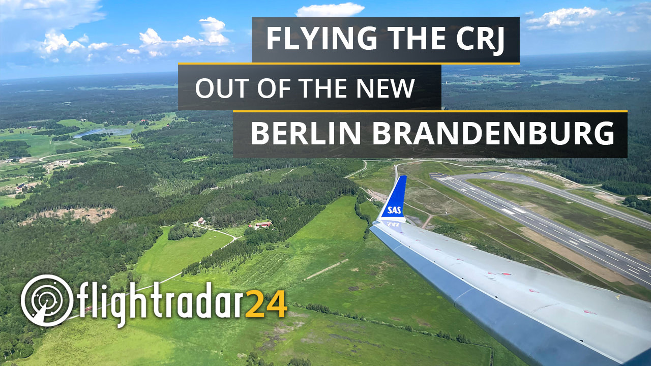"""Title card: """"Flying the CRJ out of the new Berlin Brandenburg"""" overlaid on a photo looking out the window of a CRJ-900 departing Berlin"""