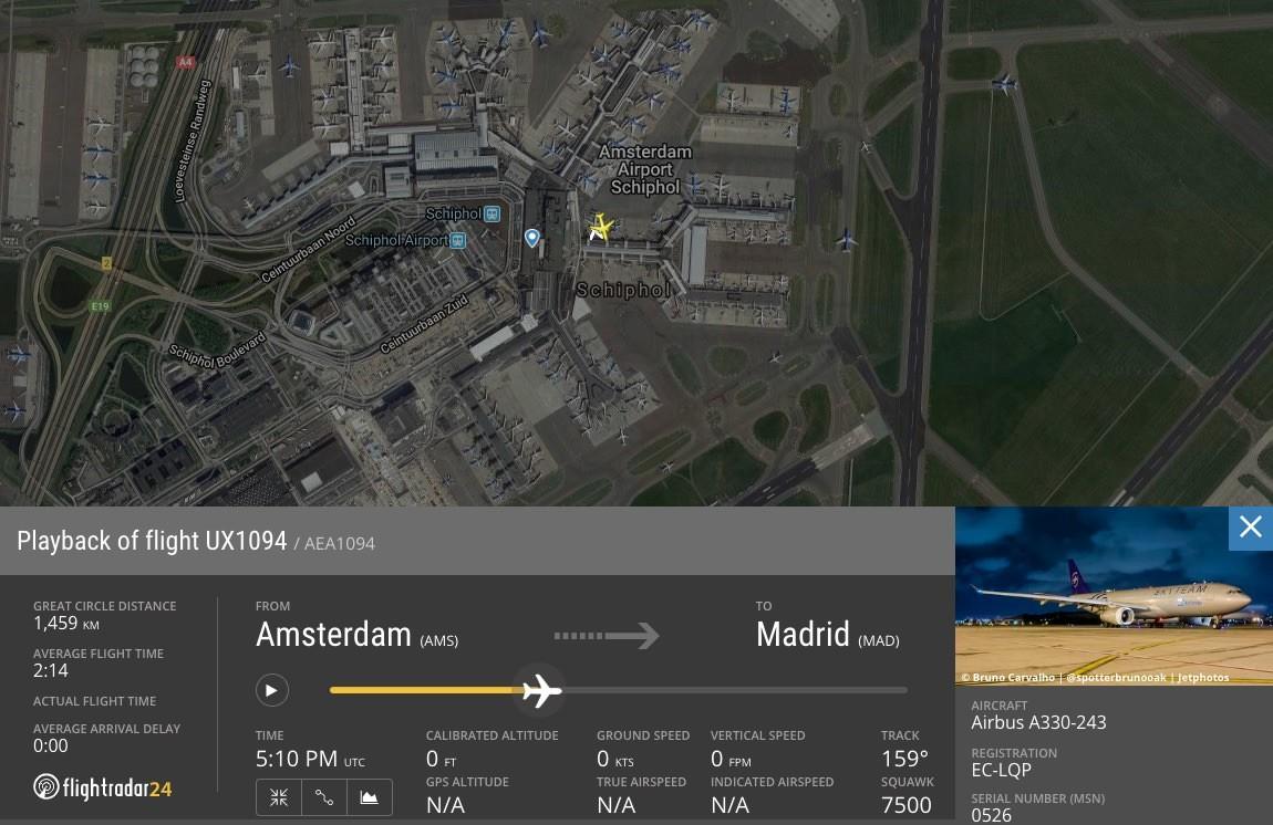 Air Europa A330 squawking 7500