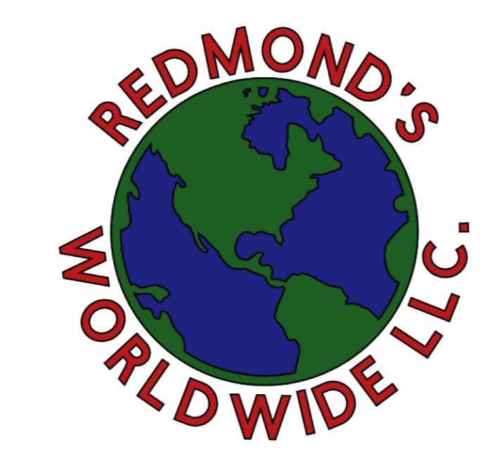 "Redmond's logo with text that says ""Redmond's Worldwide LLC"" around a globe."