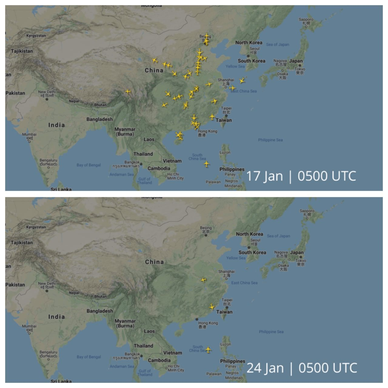 Flights to and from Wuhan 17 vs 24 January