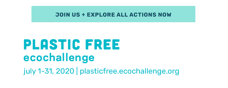 """an image of words """"join us and explore all actions now"""" Plastic Free Ecochallenge July 1 through 31. Website is plasticfree.ecochallenge.org."""