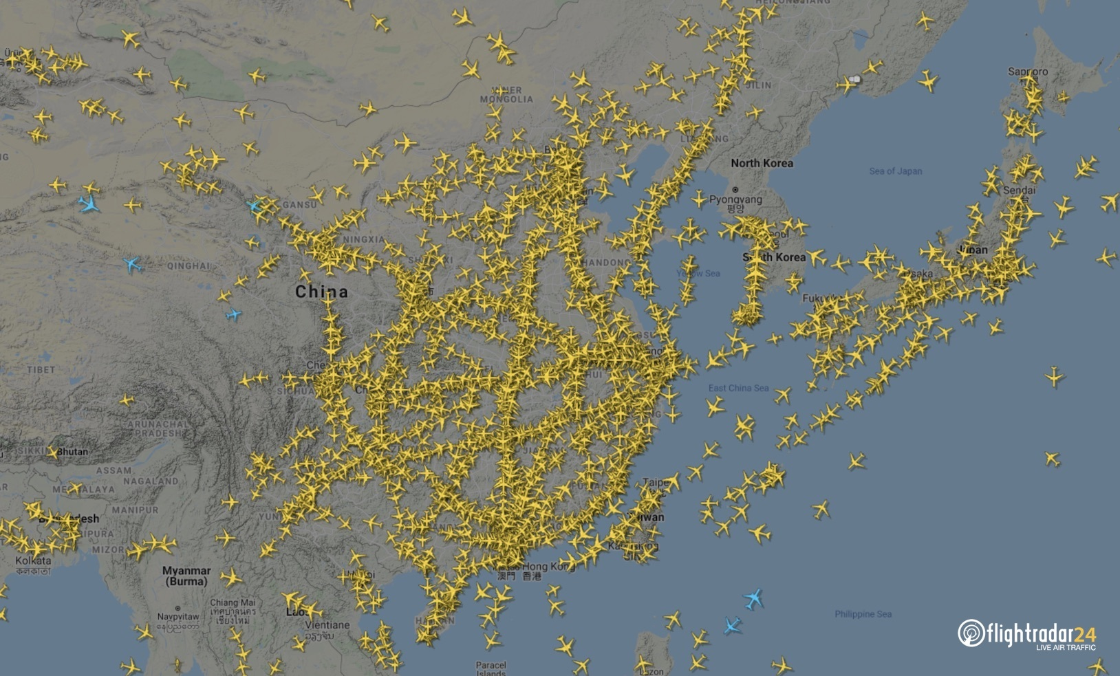 Air traffic over China