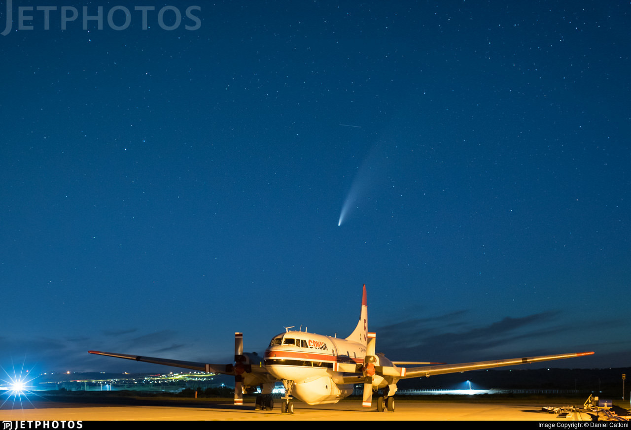 Comet Neowise over a Conair Convair
