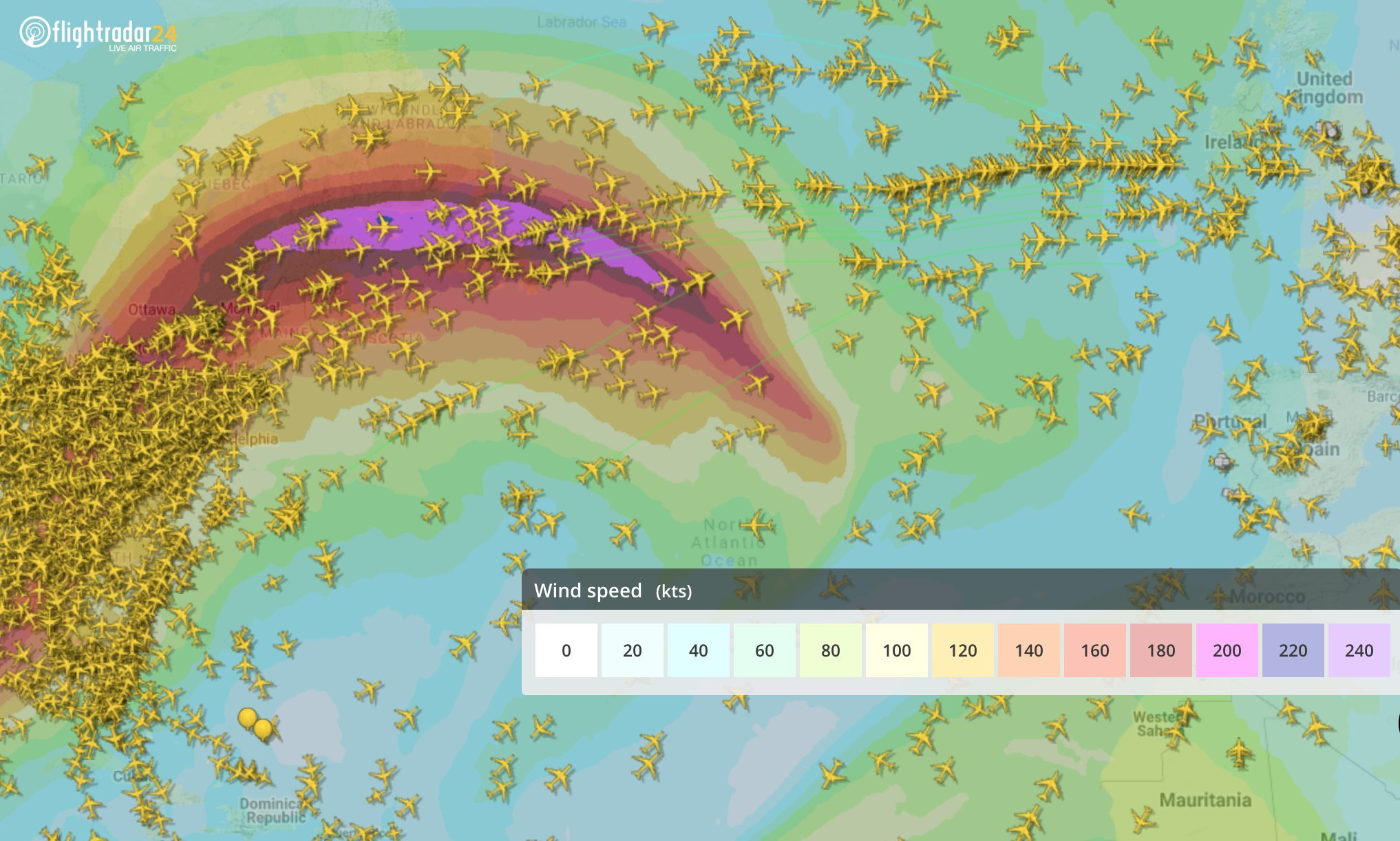 The North Atlantic jet stream