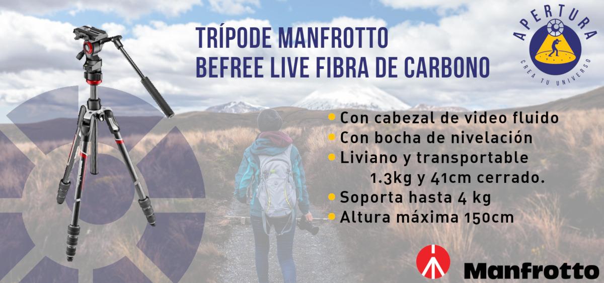 Manfrotto trípode de Video Ultra Liviano Befree Live de Fibra de Carbono con BOCHA de equilibrio de cabezal