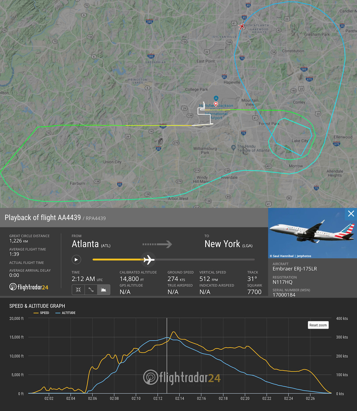 Republic E175 loss of control incident