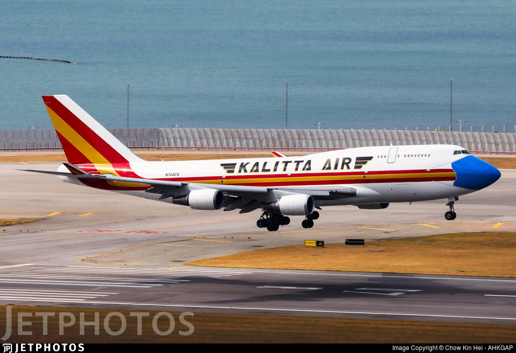 Kalitta Air 747 wearing a blue face mask on its nose