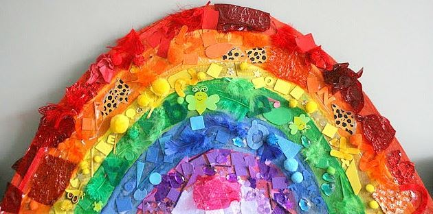 Art Saturday: Cardboard Rainbow Collage