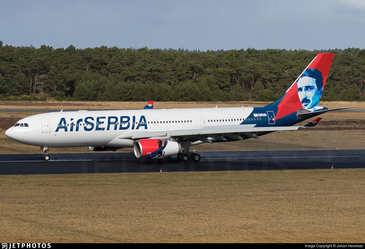 Air Serbia A330 with image of Nikola Tesla on the tail
